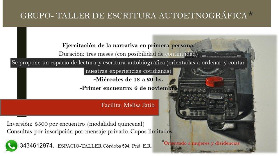 TALLER DE ESCRITURA AUTOETNOGRAFICO EN PARANA|MELISA JATIB